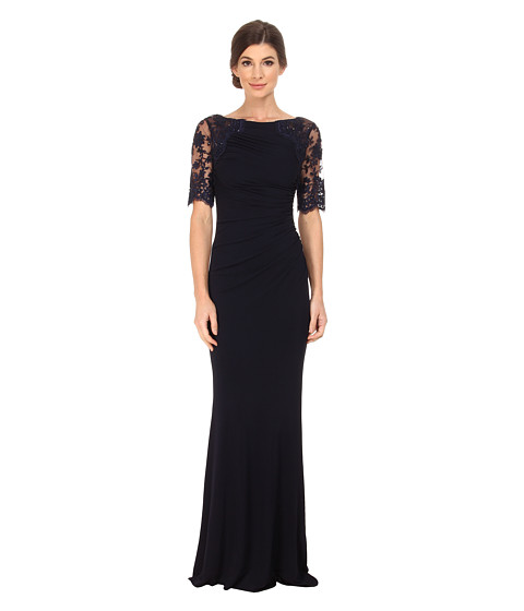 Badgley Mischka - Short Sleeve Lace and Matte Jersey Gown (Navy) Women