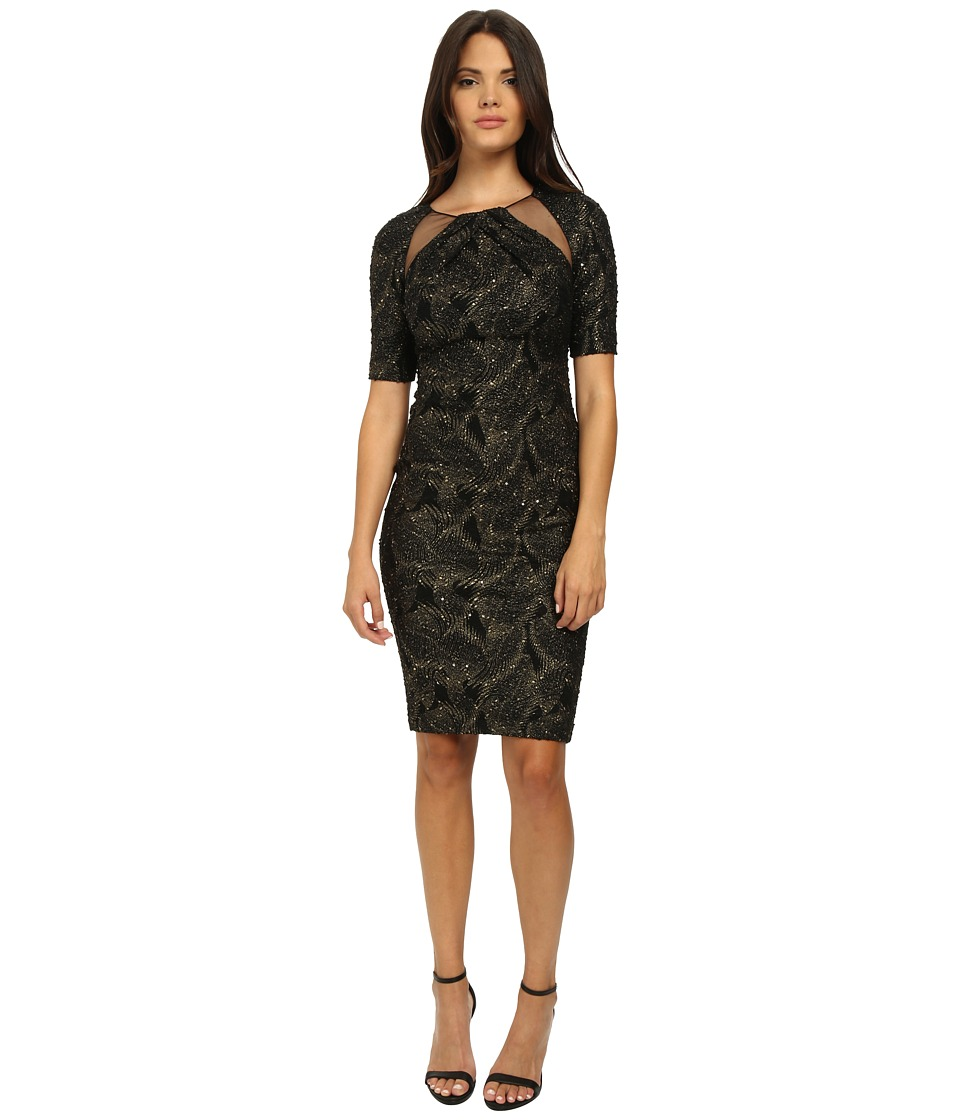 Badgley Mischka - Stretch Metallic Knit Cocktail Dress (Black Gold) Women's Dress