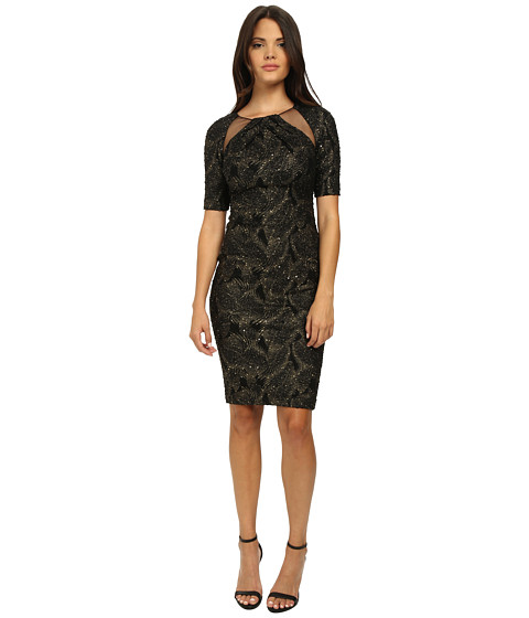 Badgley Mischka - Stretch Metallic Knit Cocktail Dress (Black Gold) Women