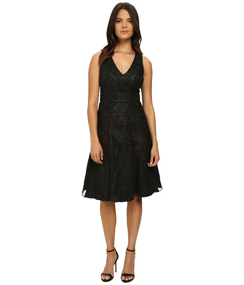 Badgley Mischka - Runaway Lace Collage Cocktail Dress (Black Gold) Women's Dress