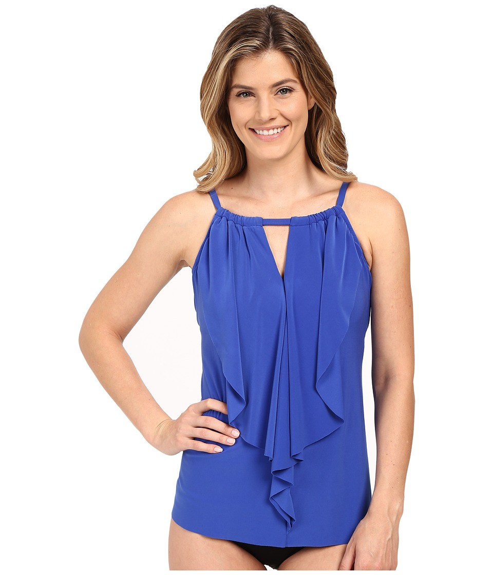 Miraclesuit - Suit Yourself Ruffle Peephole Tankini Top (Electric Blue) Women's Swimwear