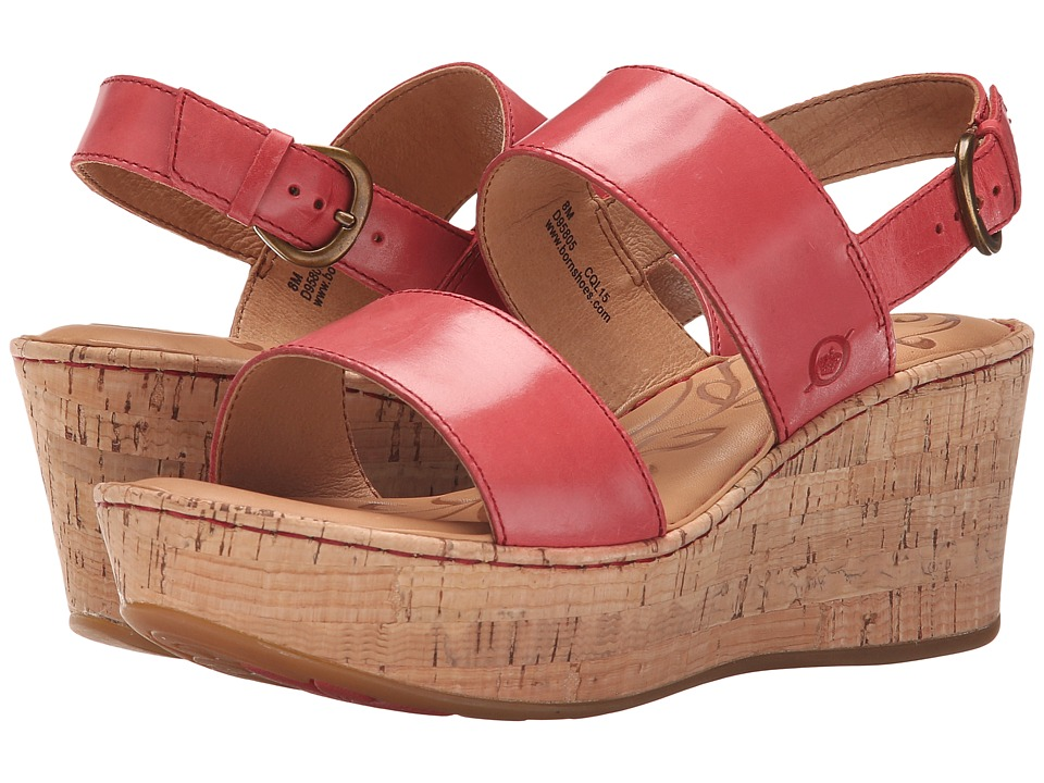 Born - Metzger (Red Full Grain Leather) Women's Wedge Shoes