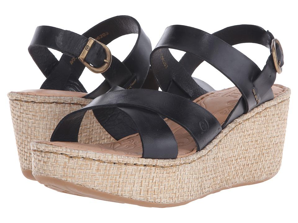 Born - Tera (Black Full Grain Leather) Women's Wedge Shoes