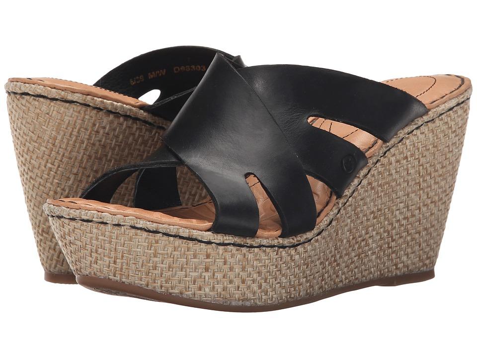 Born - Ilara (Black Full Grain Leather) Women's Wedge Shoes