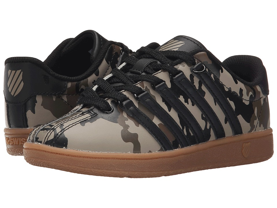K-Swiss Kids - Classic VN (Little Kid) (Camo/Black/Gum Leather) Boys Shoes