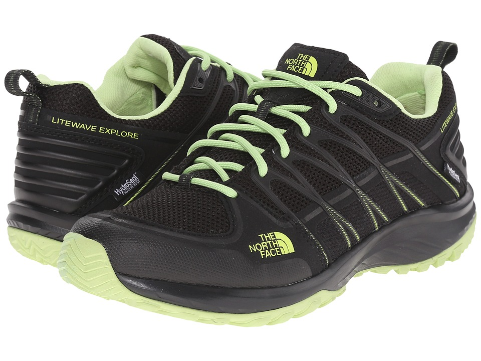 The North Face - Litewave Explore WP (TNF Black/Budding Green) Women's Shoes