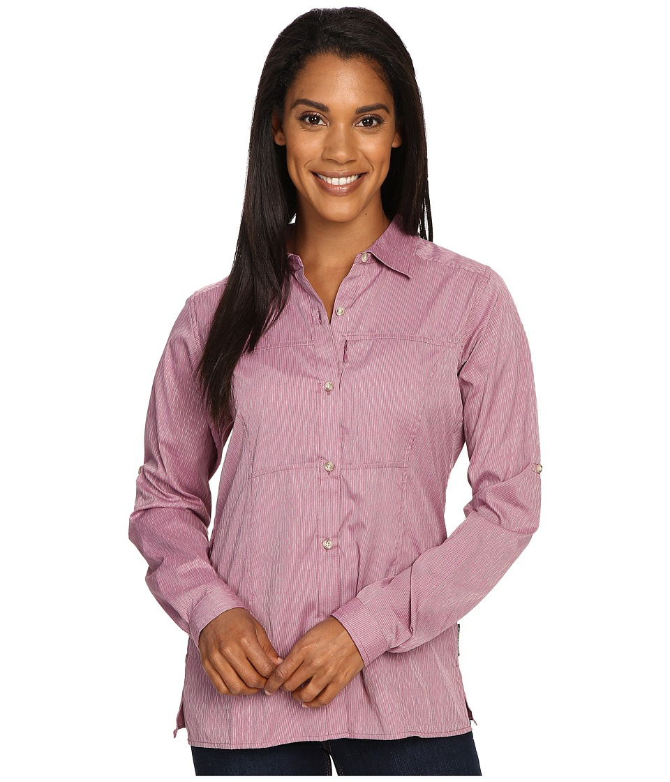 ExOfficio - Lightscape Digi-Stripe (Mulberry) Women's Long Sleeve Button Up