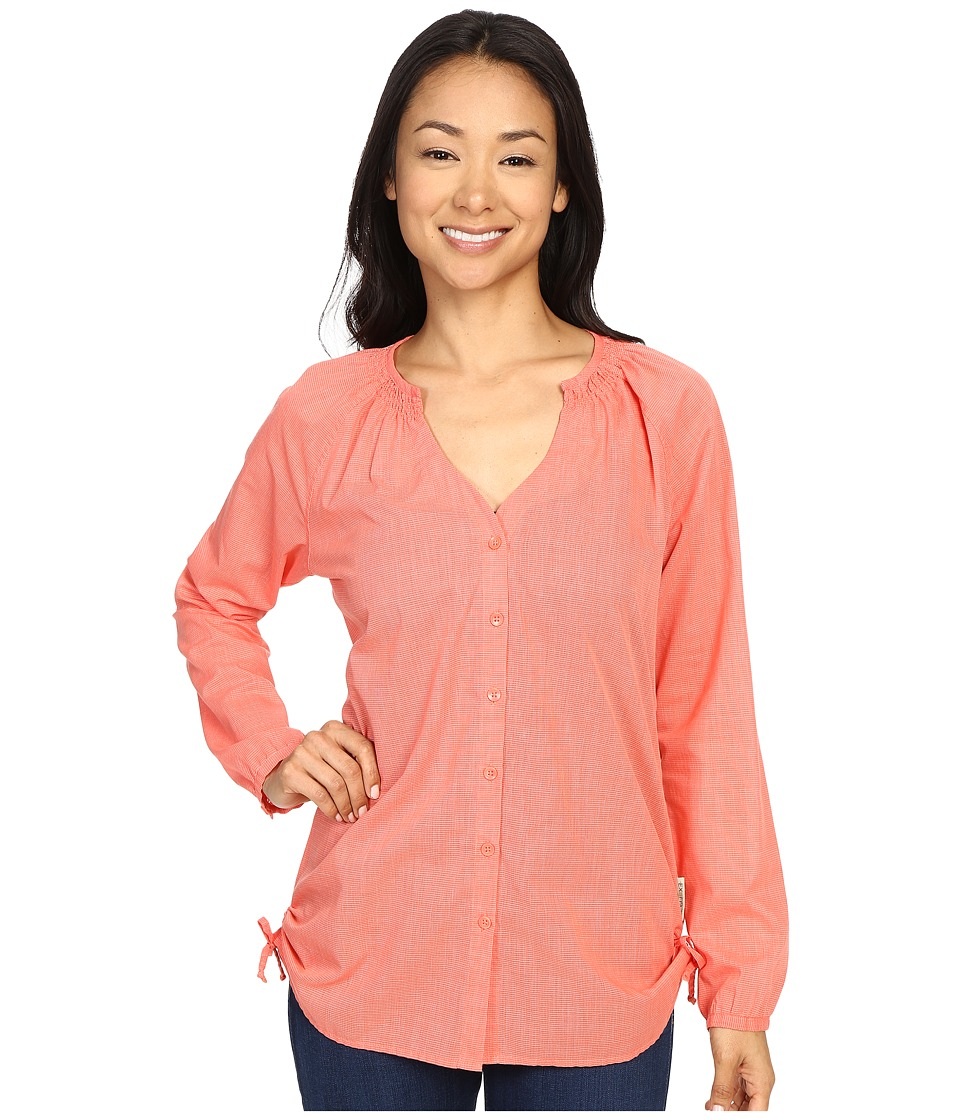 ExOfficio - BugsAway Kutula Tunic (Hot Coral) Women's Long Sleeve Button Up