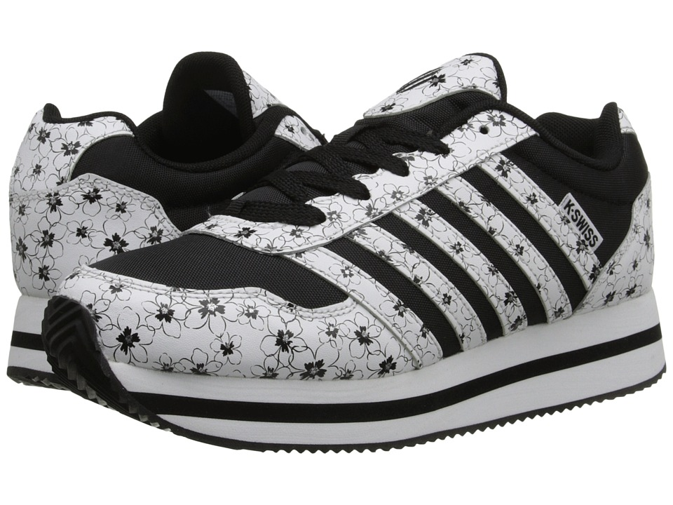 K-Swiss Kids - New Haven Platform (Big Kid) (Black/White/Flower Leather) Girls Shoes