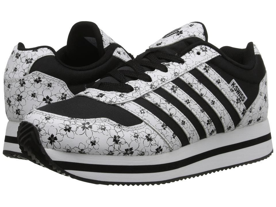 K-Swiss Kids - New Haven Platform (Big Kid) (Black/White/Flower Leather) Girls Shoes