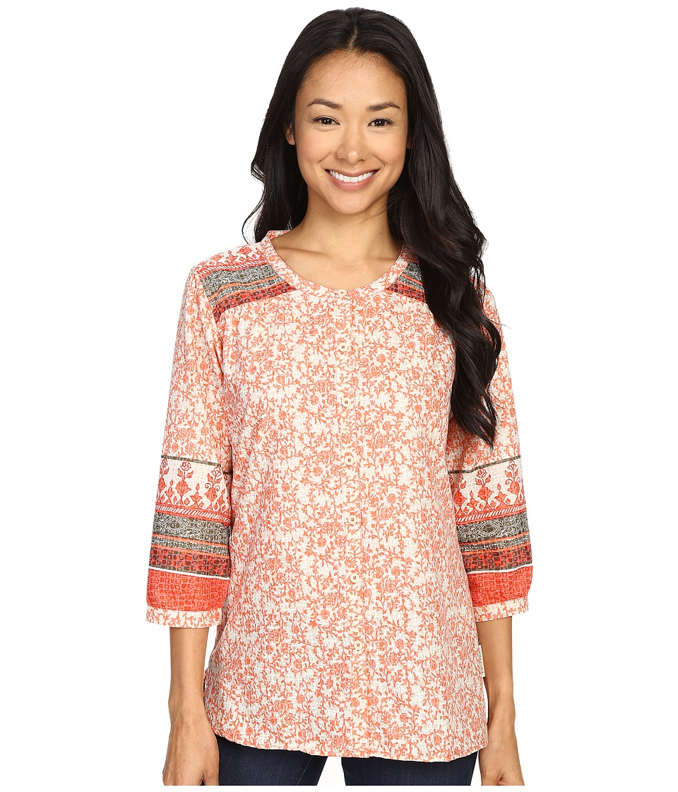 ExOfficio - Next-To-Nothing Artisan (Hot Coral Print) Women's Blouse