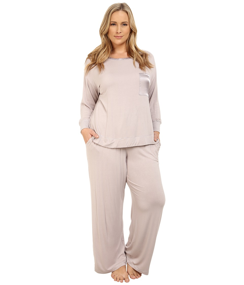Midnight by Carole Hochman - Plus Size Day Dreamer Pajama Set (Pale Grey) Women's Pajama Sets