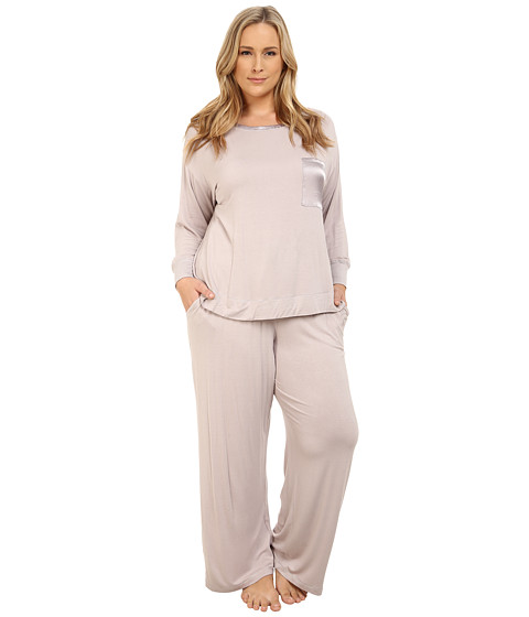 Midnight by Carole Hochman - Plus Size Day Dreamer Pajama Set (Pale Grey) Women