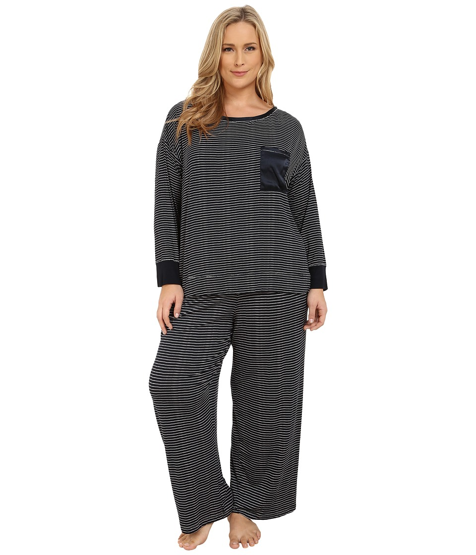 Midnight by Carole Hochman - Plus Size Day Dreamer Pajama Set (Midnight Painterly Stripe/Pale Ash) Women