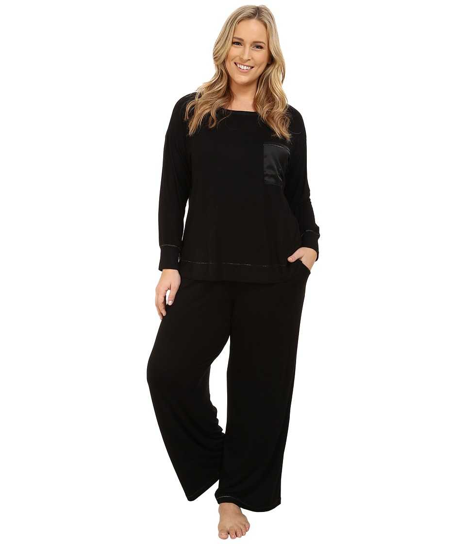 Midnight by Carole Hochman - Plus Size Day Dreamer Pajama Set (Black) Women's Pajama Sets