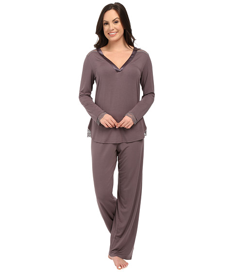 Midnight by Carole Hochman - A Touch of Silver Lace Inset Pajama Set (Sweet Truffle) Women's Pajama Sets