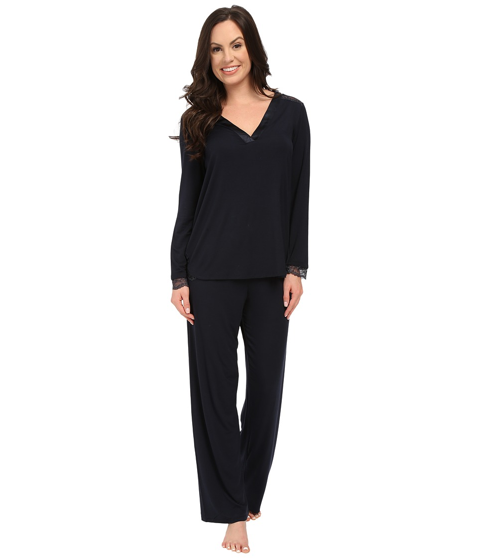 Midnight by Carole Hochman - A Touch of Silver Lace Inset Pajama Set (Midnight) Women