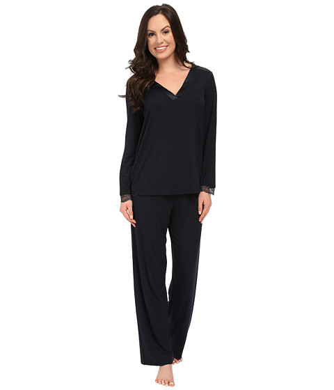 Midnight by Carole Hochman - A Touch of Silver Lace Inset Pajama Set (Midnight) Women's Pajama Sets