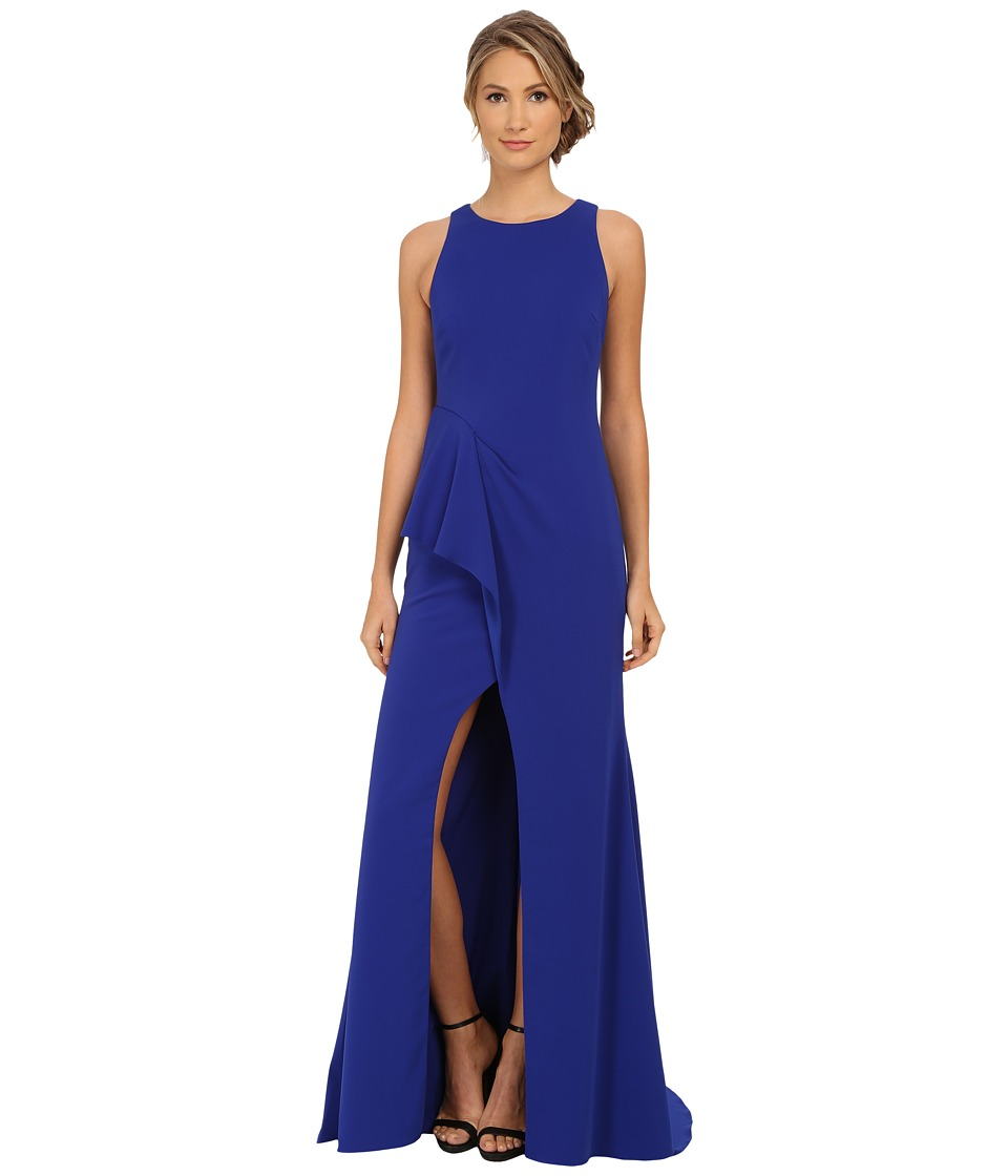 Badgley Mischka - High Slit Stretch Crepe Gown (Cobalt) Women's Dress