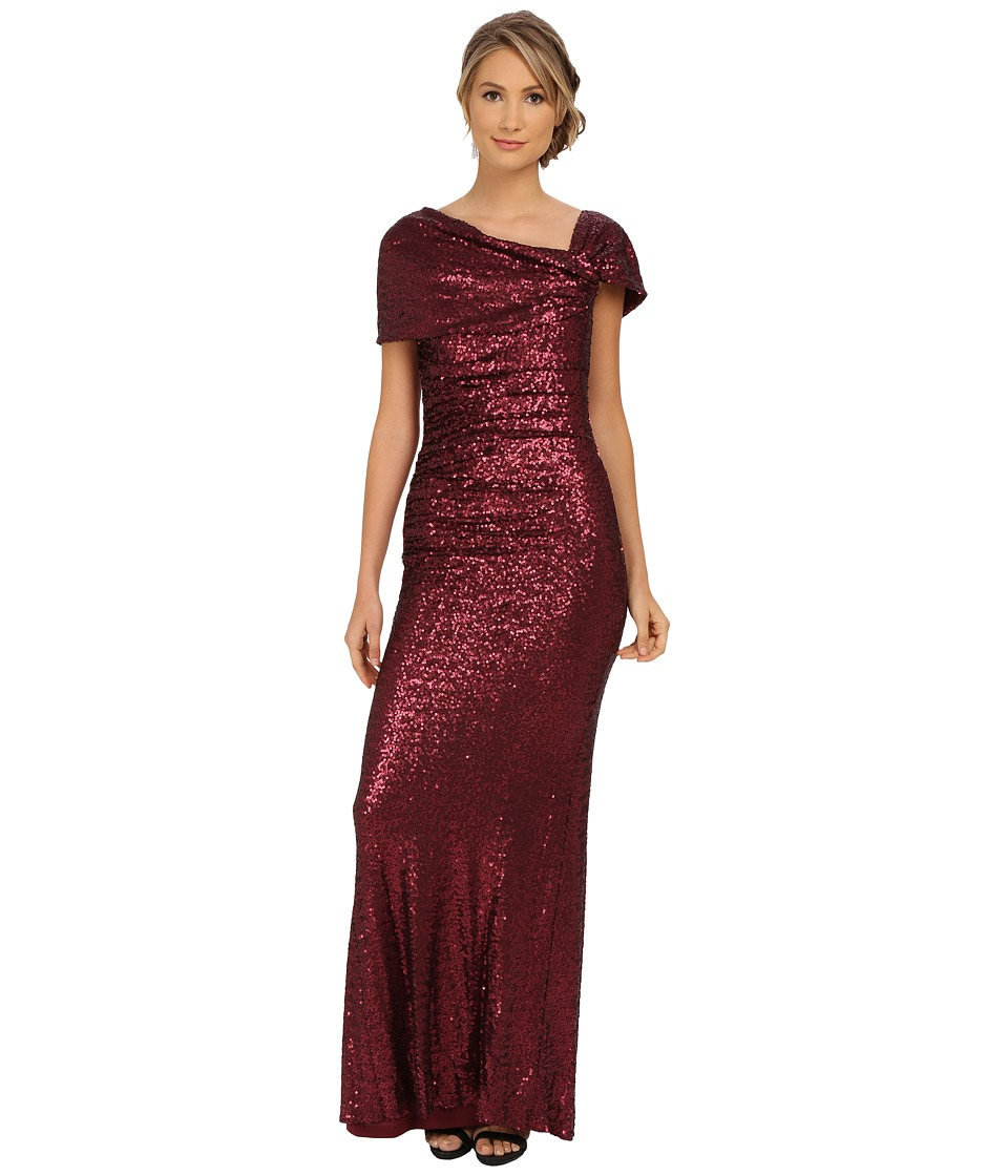 Badgley Mischka - Sequin Off the Shoulder Gown (Bordeaux) Women