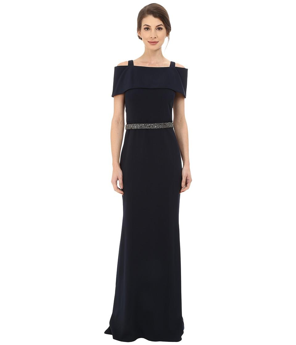 Badgley Mischka - Off the Shoulder Wrap Gown with Beaded Waist (Navy) Women's Dress