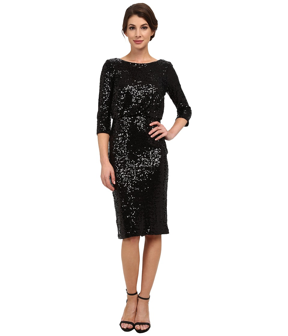 Badgley Mischka - Stretch Sequin Blouson Cocktail Dress (Black) Women's Dress