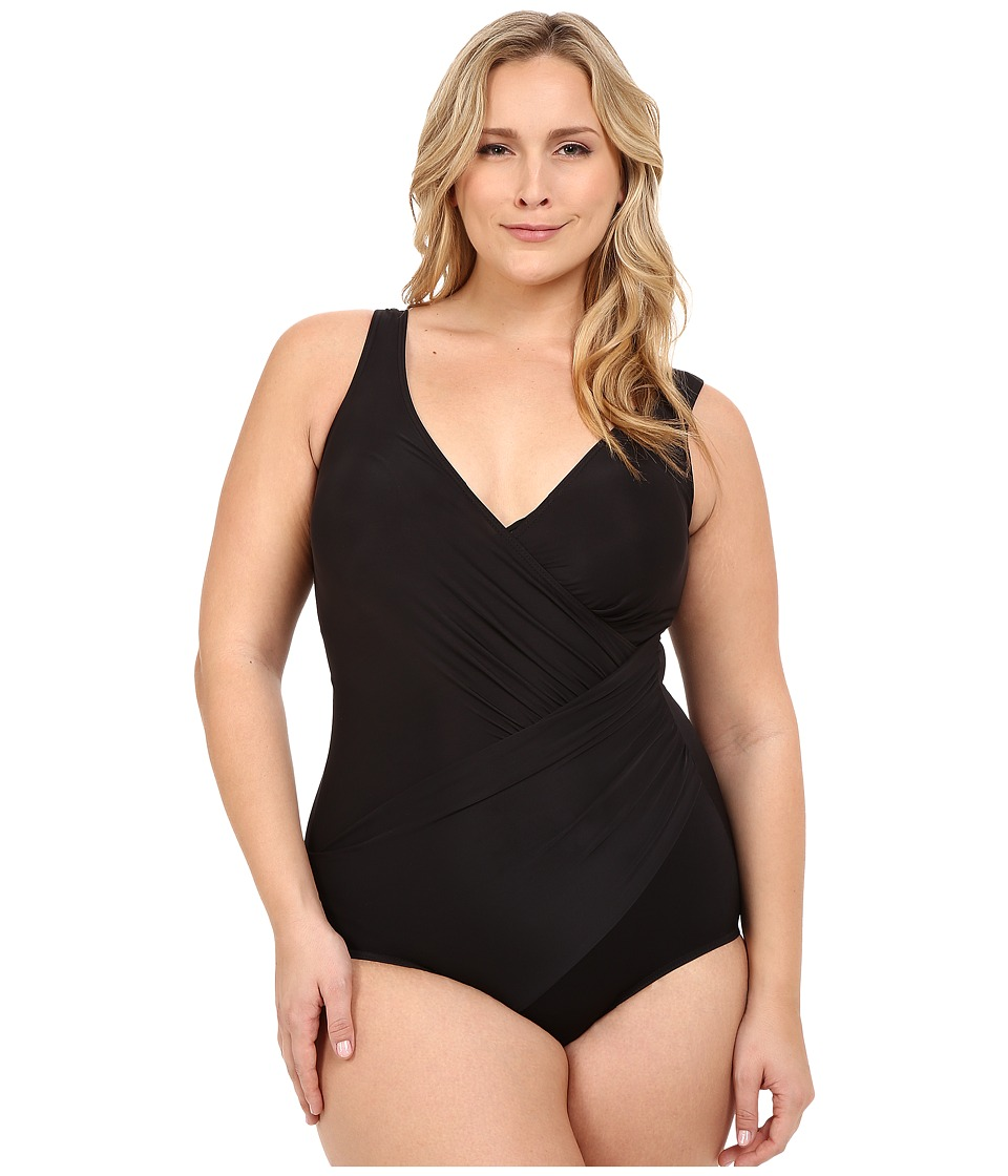 Miraclesuit - Plus Size Solid Oceanus One-Piece (Black) Women's Swimsuits One Piece plus size,  plus size fashion plus size appare