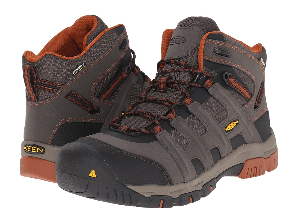Keen Utility - Omaha Mid Waterproof (Black Olive/Gingerbread) Men's Work Lace-up Boots