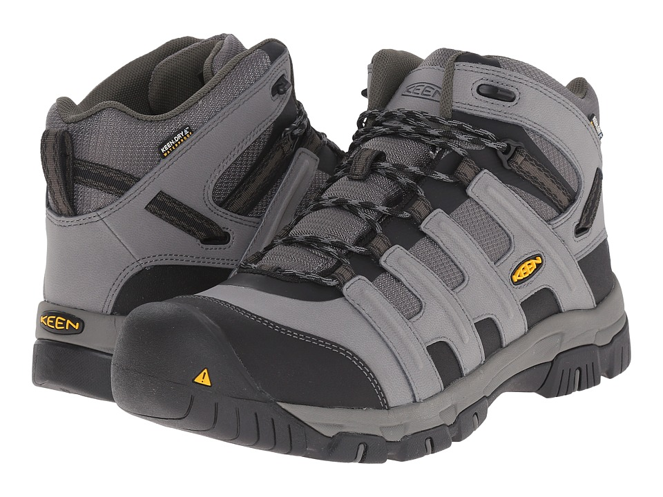 Keen Utility - Omaha Mid Waterproof Soft Toe (Gargoyle/Forest Night) Men's Work Lace-up Boots