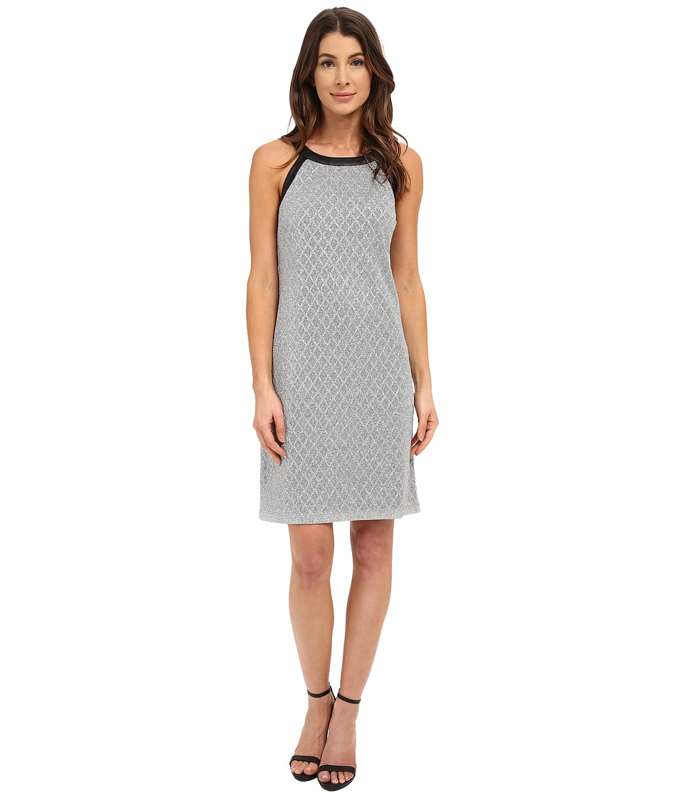 Nine West - Sleeveless Disco Diamond Printed Shift Dress (Black/Silver) Women's Dress