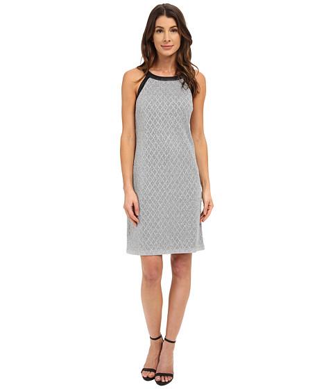 Nine West - Sleeveless Disco Diamond Printed Shift Dress (Black/Silver) Women's Dress