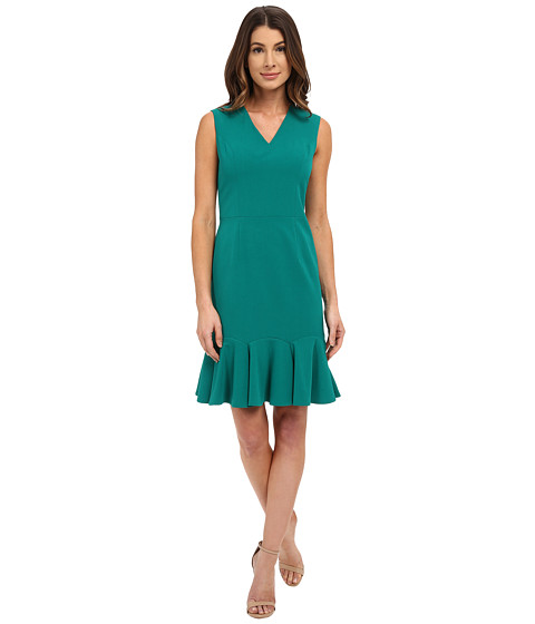 Nine West - Sleeveless Bi-Stretch Dress with A Flounce Skirt (Gem) Women