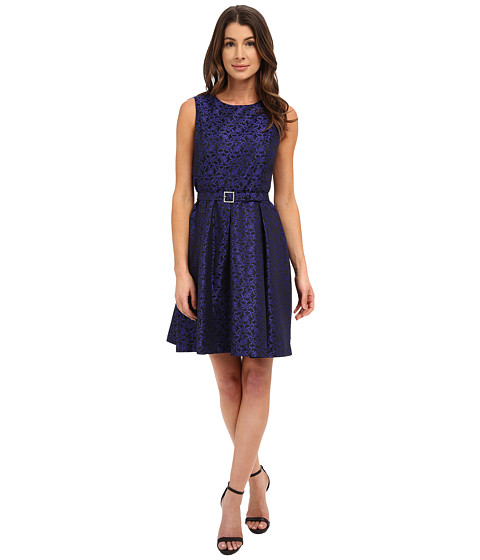 Nine West - Sleeveless Jacquard Princess Seam Dress (Black/Royal Blue) Women's Dress