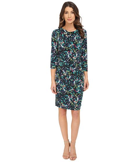 Nine West - 3/4 Sleeve Paradise Floral Printed Dress (Gem Combo) Women