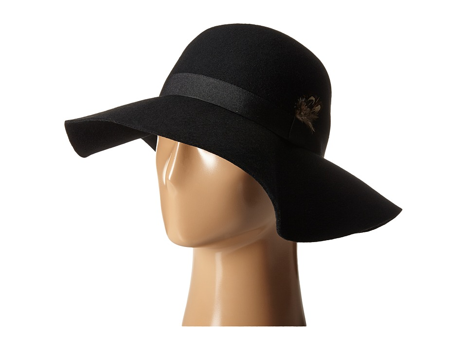 Steve Madden - Felt Floppy Hat w/ Feathers (Black) Caps