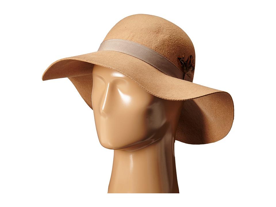 Steve Madden - Felt Floppy Hat w/ Feathers (Camel) Caps