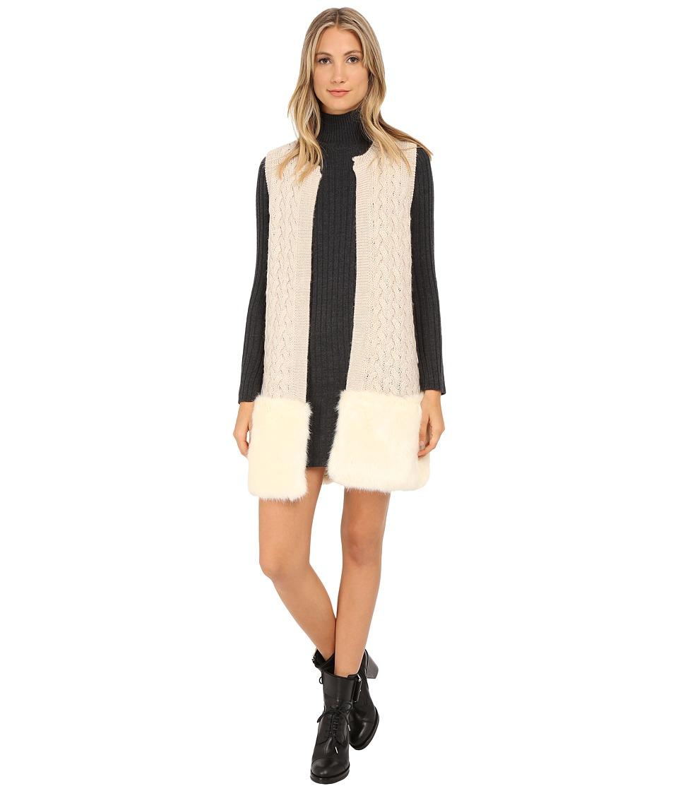 French Connection - Glinka Fur Knits Vest 78EDE (Classic Cream Melange) Women's Vest