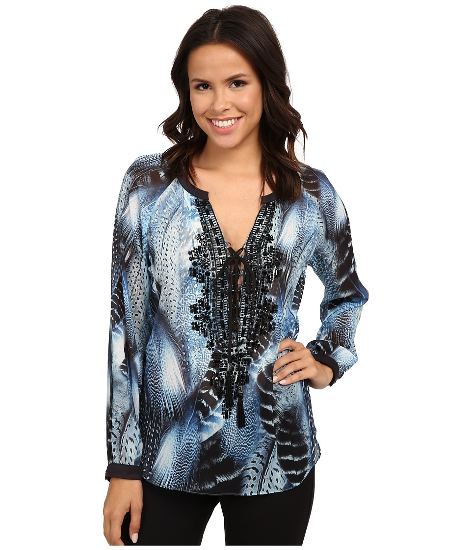 Hale Bob - Truth Or Flare Hand Beaded Blouse (Blue) Women's Blouse