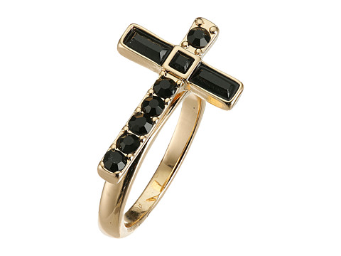 GUESS - Sideways Cross Ring (Gold/Jet) Ring