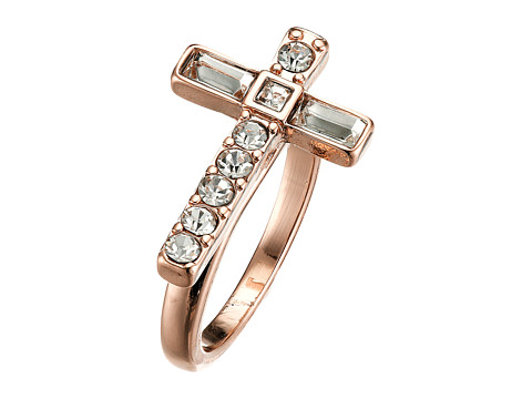 GUESS - Sideways Cross Ring (Rose Gold/Crystal) Ring