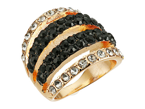 GUESS - 4 Band Look Ring (Gold/Jet/Crystal) Ring