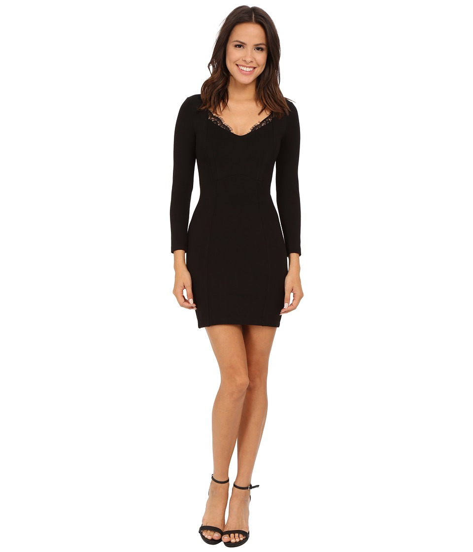 French Connection - Lula Stretch Long Sleeve Dress 71EHT (Black) Women's Dress