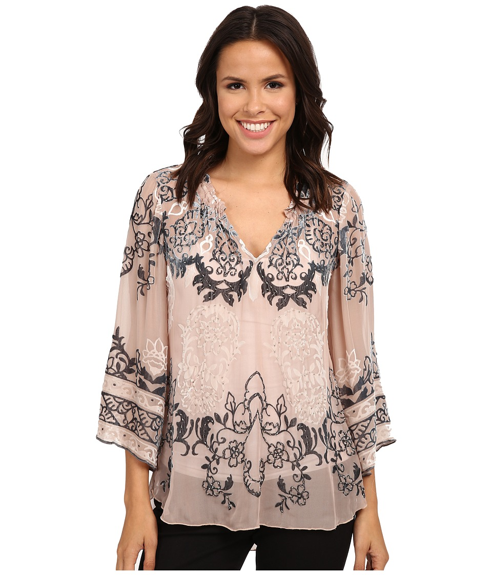 Hale Bob - Truth Or Flare Velvert Burnout Top (Beige) Women's Blouse
