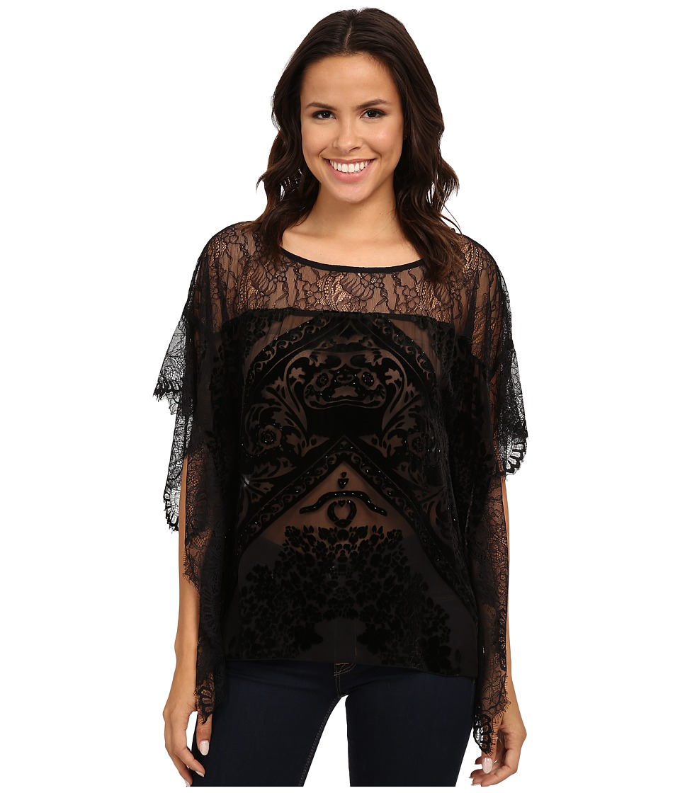 Hale Bob - Truth Or Flare Velvert Burnout w/ Lace Top (Black) Women's Blouse