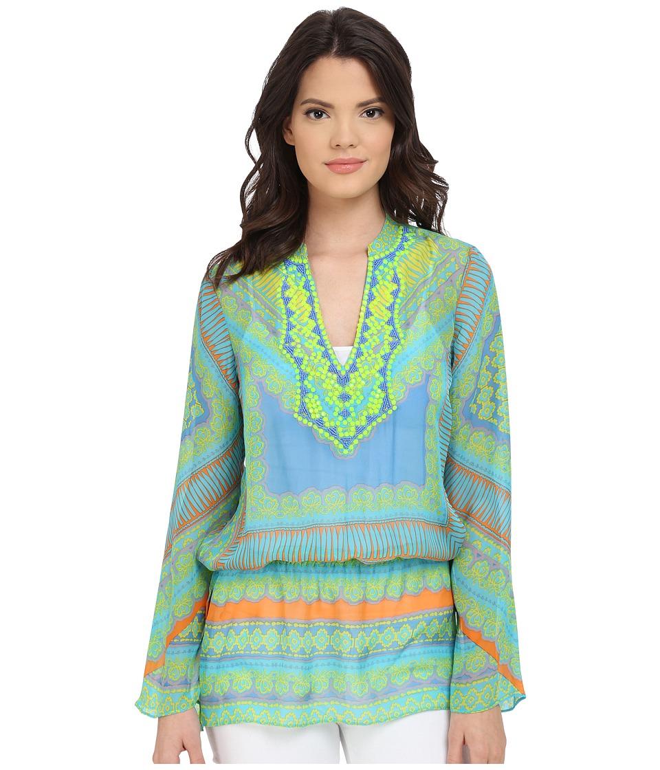 Hale Bob - Meet Me in Havana Silk Chiffon Tunic (Turquoise) Women's Blouse