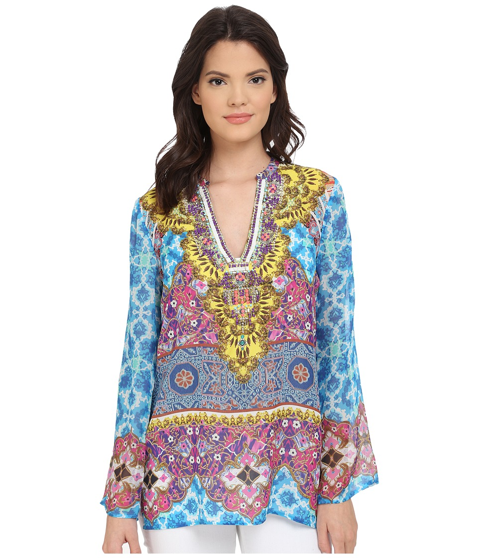 Hale Bob - Salsa on the Beach Silk Chiffon Tunic (Blue) Women's Blouse