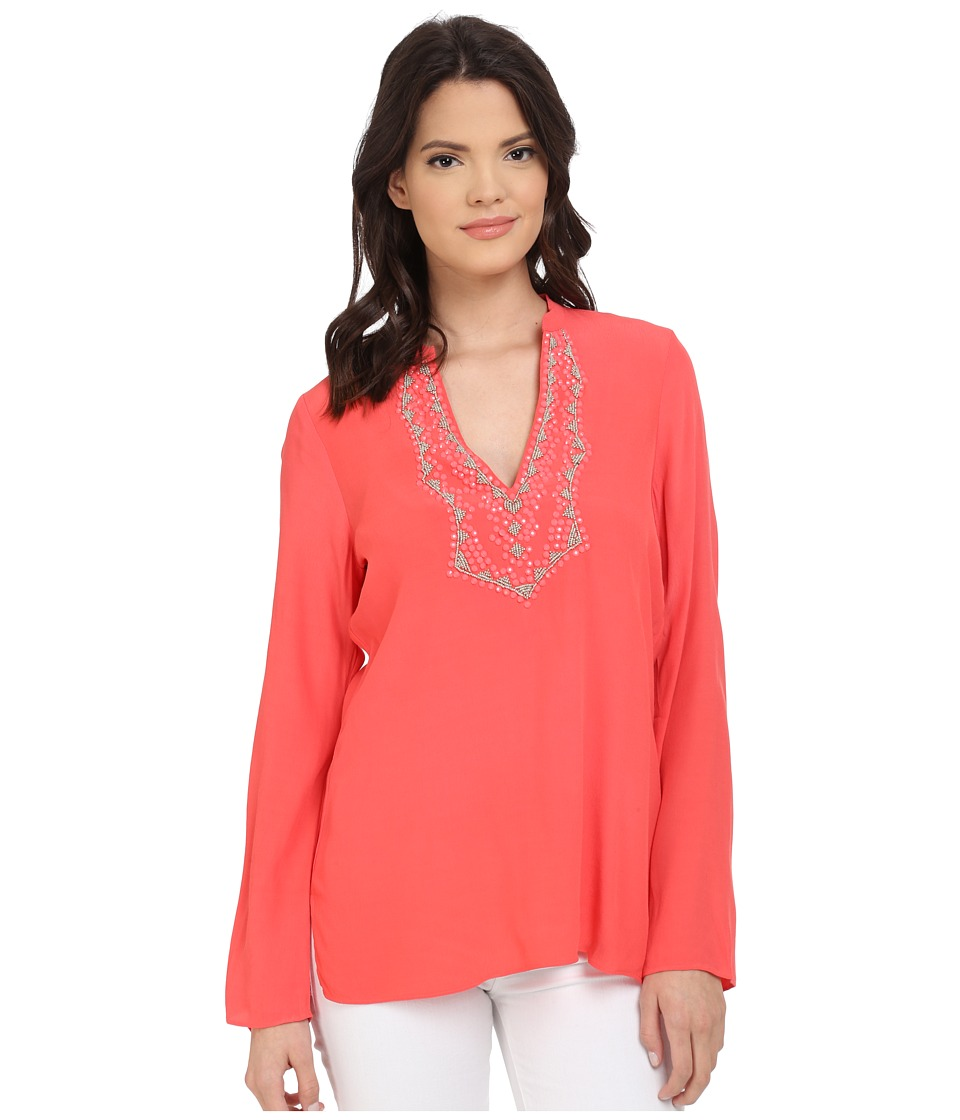 Hale Bob - Meet Me in Havana Hand Beaded Tunic (Coral) Women's Blouse