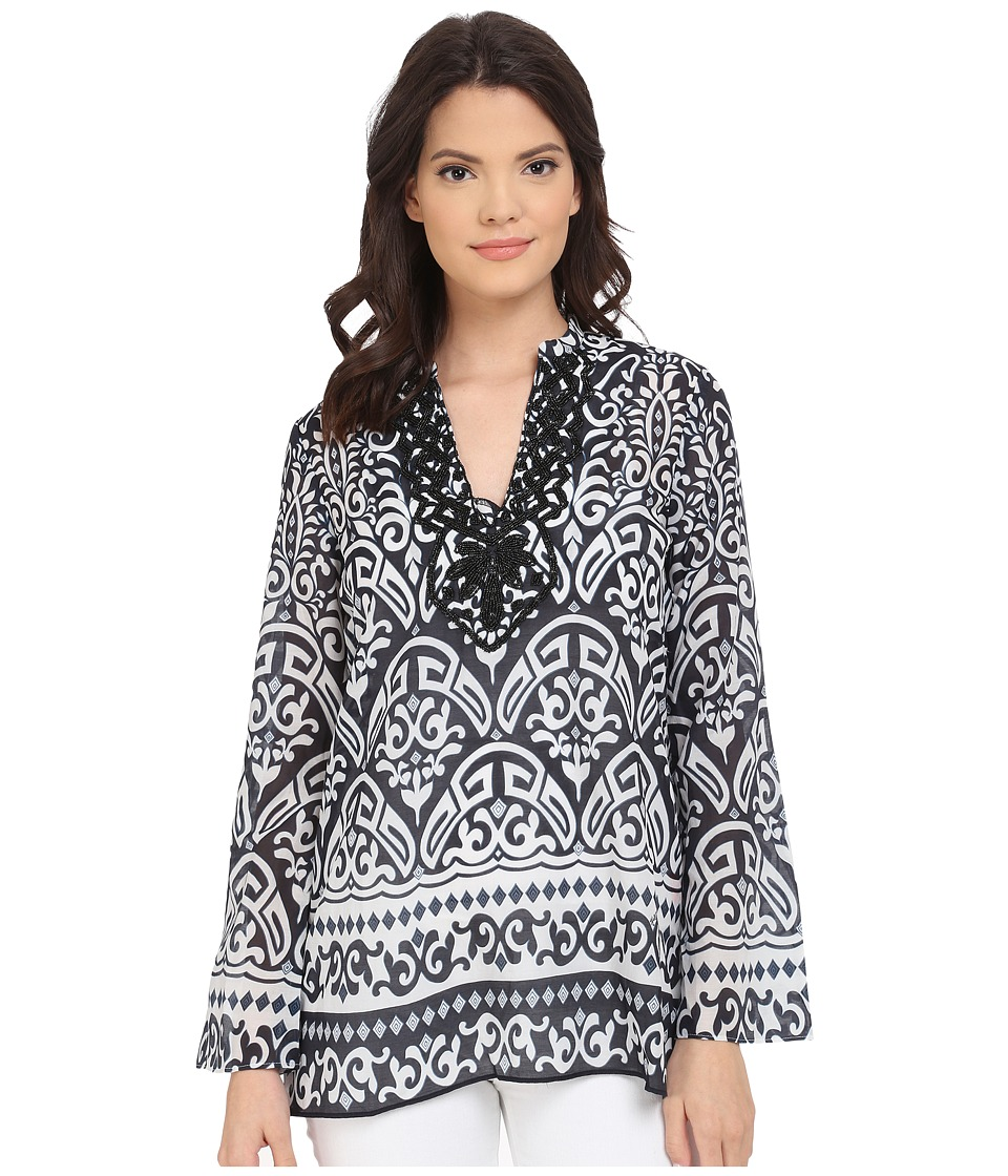 Hale Bob - Thrills and Frills Hand Beaded Tunic (Black/White) Women's Blouse