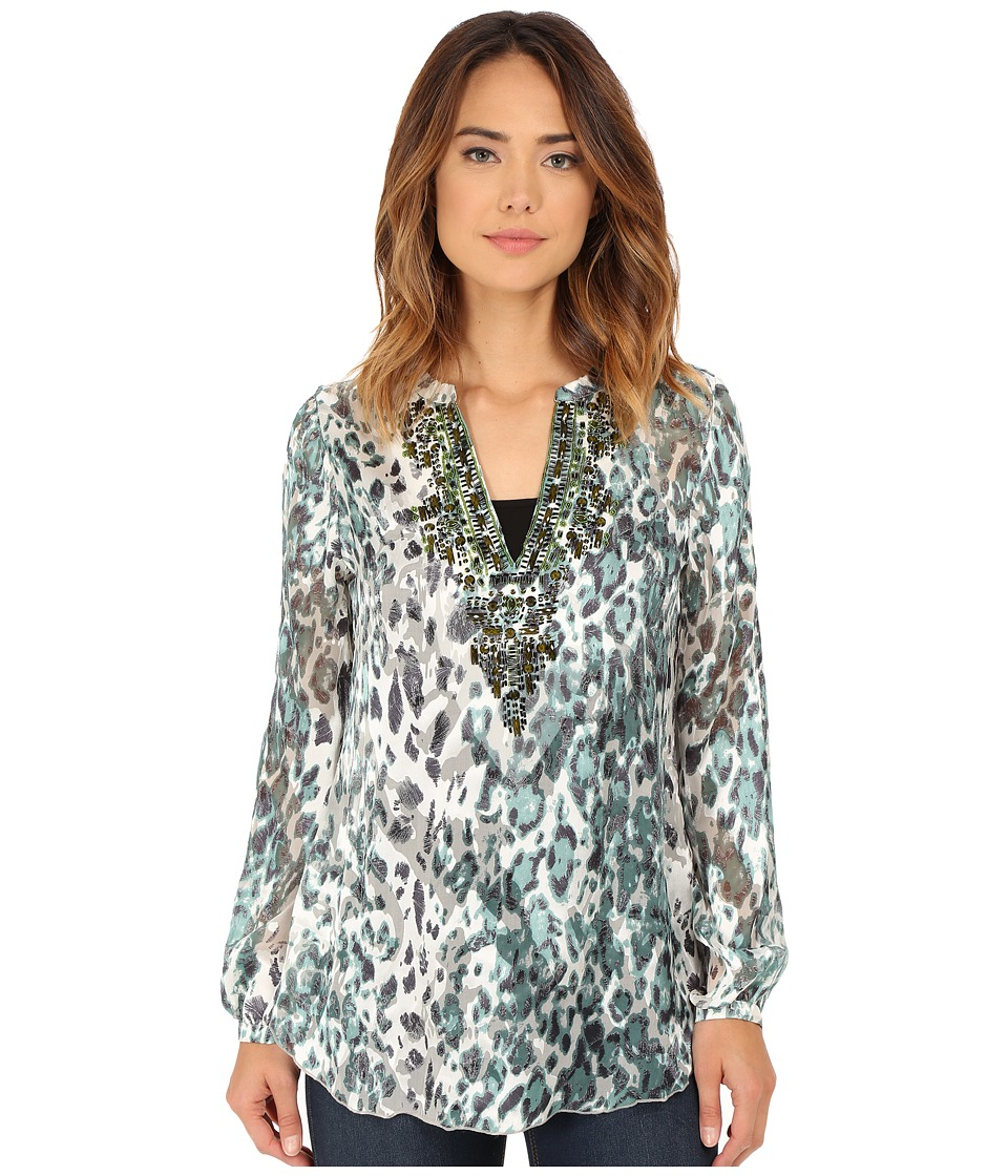Hale Bob - Sheer Obsession Satin Burnout Blouse (Mint) Women's Blouse