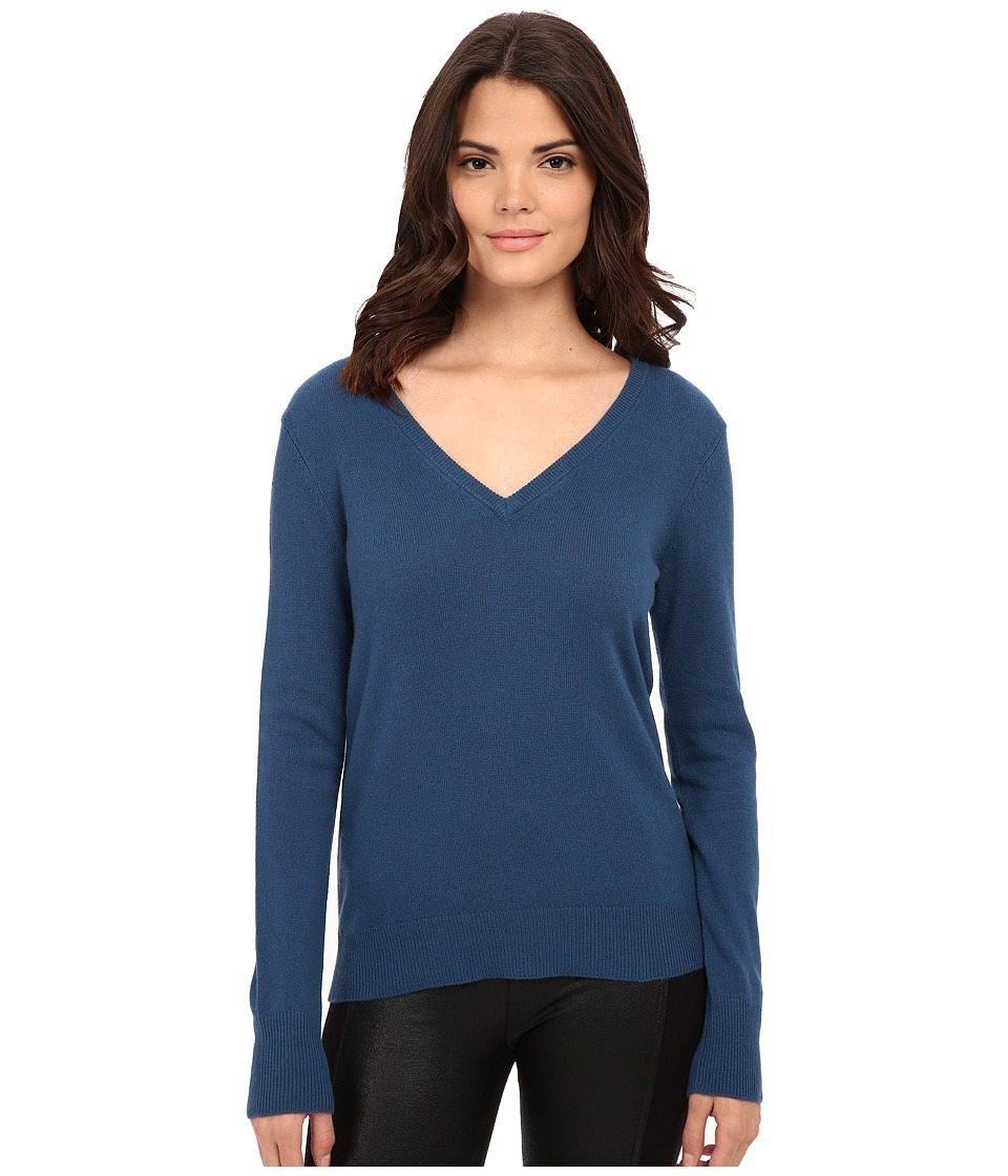 EQUIPMENT - Cecil V-Neck L/S Top (Majoilca Blue) Women's Long Sleeve Pullover